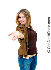 woman showing and smiling looking at camera explaining with gesture on white background.