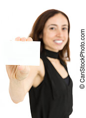 Woman showing blank business card