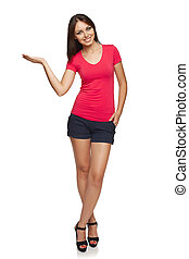 Woman showing blank copy space - Full length of beautiful ...