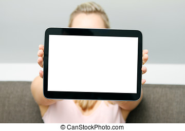 woman showing blank digital tablet