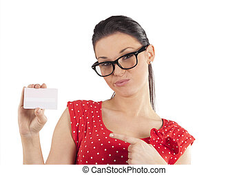woman showing card making face