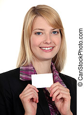 Woman showing card