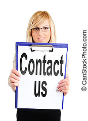 woman showing contact us