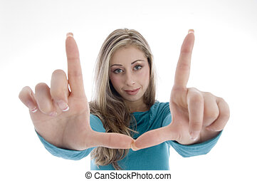 woman showing directing hand gesture