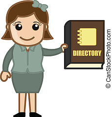 Woman Showing Directory Boook - Holding a Business Directory...