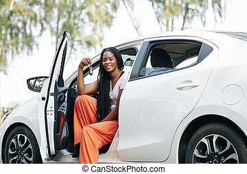 Woman showing electronic keys