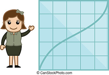 Woman Showing Graph Chart Stats - Cartoon Business Vector...