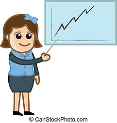 Woman Showing Growth Graph