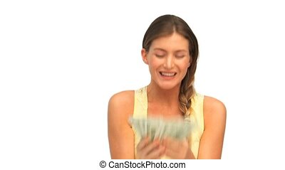 Woman showing her cash