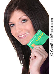 Woman showing her health card