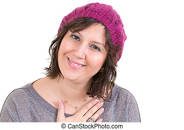Woman showing her heartfelt gratitude - Woman wearing a...