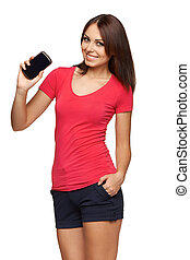 Woman showing mobile cell phone with black screen - Young ...