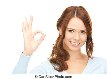 woman showing ok sign - bright picture of lovely woman...