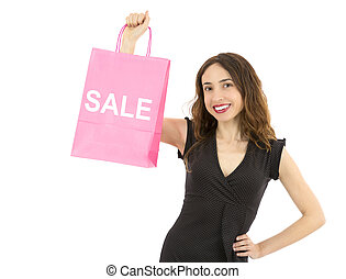 Woman showing on paper shopping bag sale sign