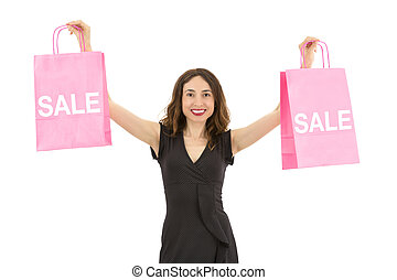 Woman showing sale shopping bags