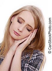 Woman showing sleeping gesture