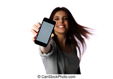 Woman showing smartphone screen isolated on white background