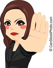 Woman Showing Stop Palm Sign