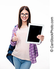 Woman showing tablet computer screen and thumb up