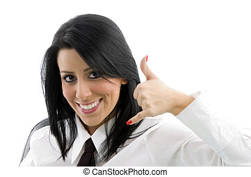 woman showing telephonic hand gesture