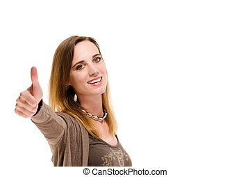 woman showing thumbs up on white background