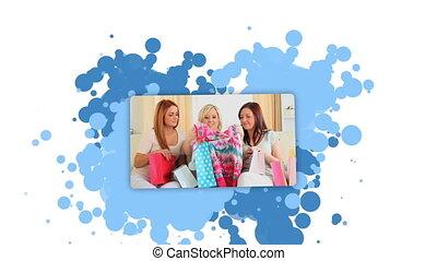 Woman showing women after shopping