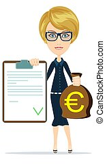 Woman shows document and money. - Woman in suit, manager or...