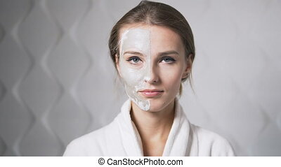 Woman Shows Face Mask
