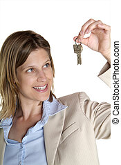 woman shows key