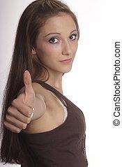 woman shows thumb