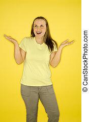 Woman shrugging shoulders.