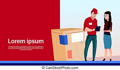Woman Sign Document Courier Man Box Delivery Package Post Service Banner Copy Space