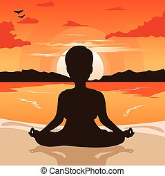 woman silhouette doing yoga on beach at sunset or at dawn