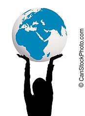 Woman silhouette holding Earth globe in hands