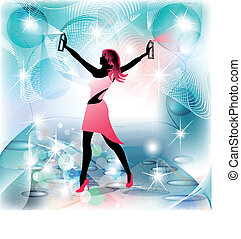 Woman silhouette housekeeper in spraying movement and clean...