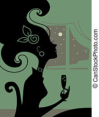 Woman silhouette in the room with a cocktail