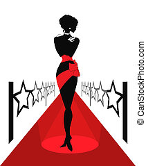 Woman silhouette on a red carpet with lightes