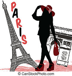 Woman silhouette on Paris - Beautiful woman silhouette on a...