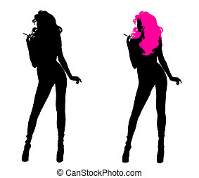 Woman Silhouette - One woman silhouette with pink hair and...