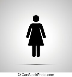 Woman silhouette, simple black human icon