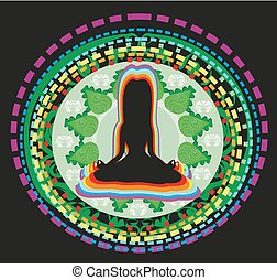 Woman silhouette sitting in lotus pose