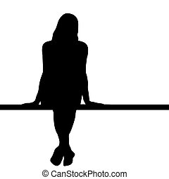 Woman silhouette sitting on a bench