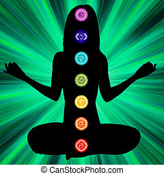 Woman silhouette with chakras on here body. EPS8