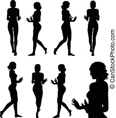 woman silhouette with hand gesture push or stop - Vector...