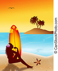 woman silhouette with surf