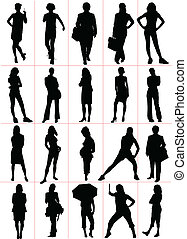 Woman silhouettes. Vector illustra