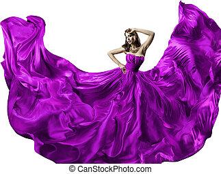 Woman Silk Dress, Beauty Fashion Portrait Long Fluttering...