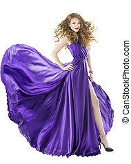 Woman silk dress, long fluttering train, girl purple fabric...