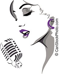 WOMAN SINGING - face of a woman singing into a microphone.