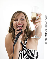 Woman singing with champagne